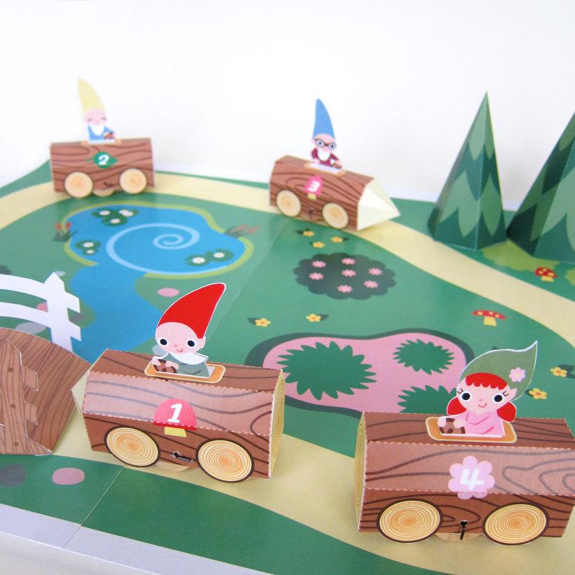 Gnome Log Race Car Playset Printable Paper Craft Fantastic Toys