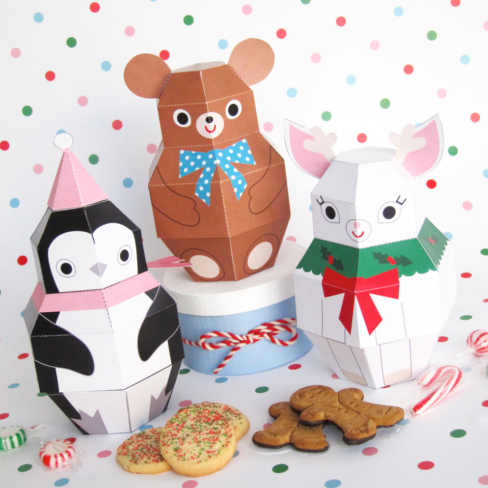 teddy, penguin and reindeer treat boxes printable paper christmas