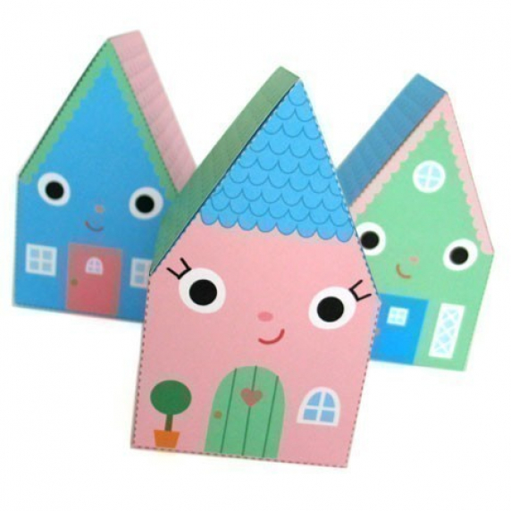Happy home favor box printable paper craft fantastic toys for Paper craft home