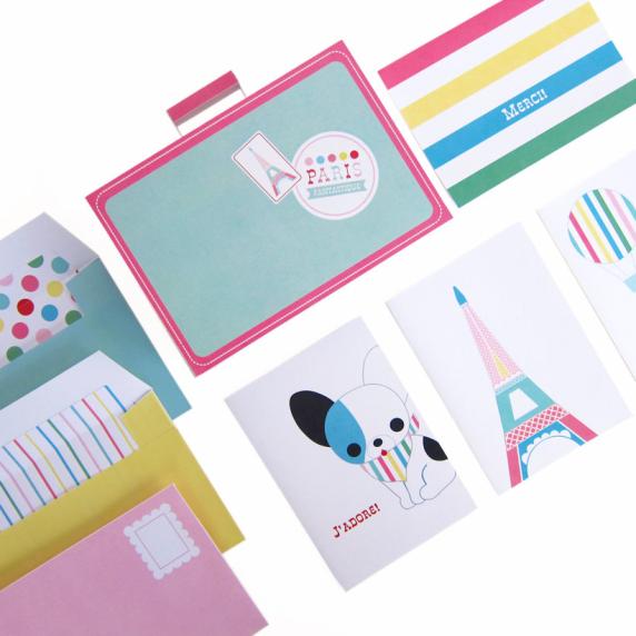 Paris greeting card set printable paper craft fantastic toys for Image craft greeting cards