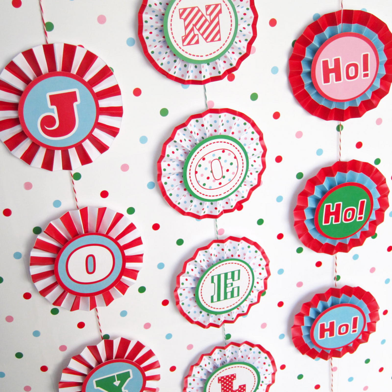 Joy noel rosette banner decoration printable paper for Christmas crafts out of paper