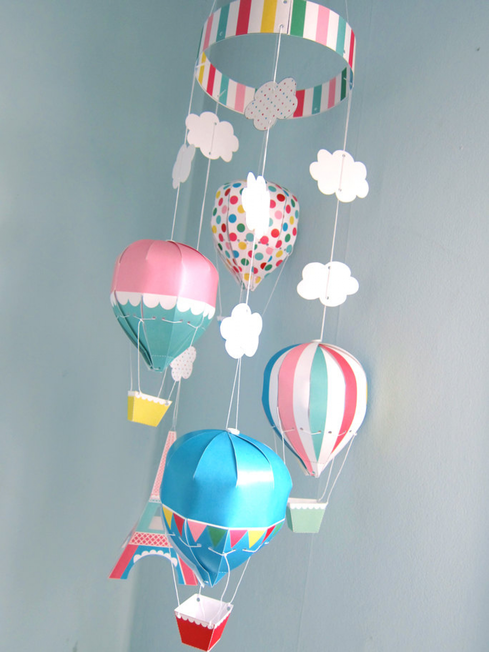 Paris Hot Air Balloon Mobile Printable Paper Craft
