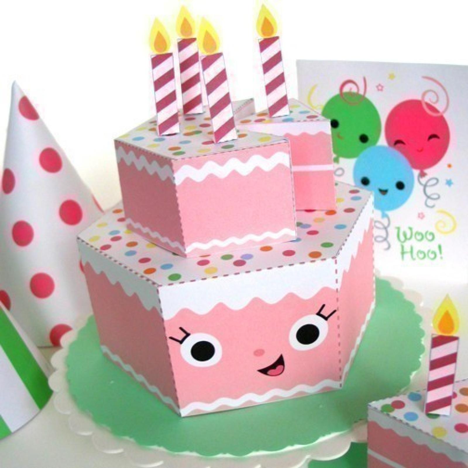 Happy Birthday Strawberry Cake Party Playset Printable Paper Craft