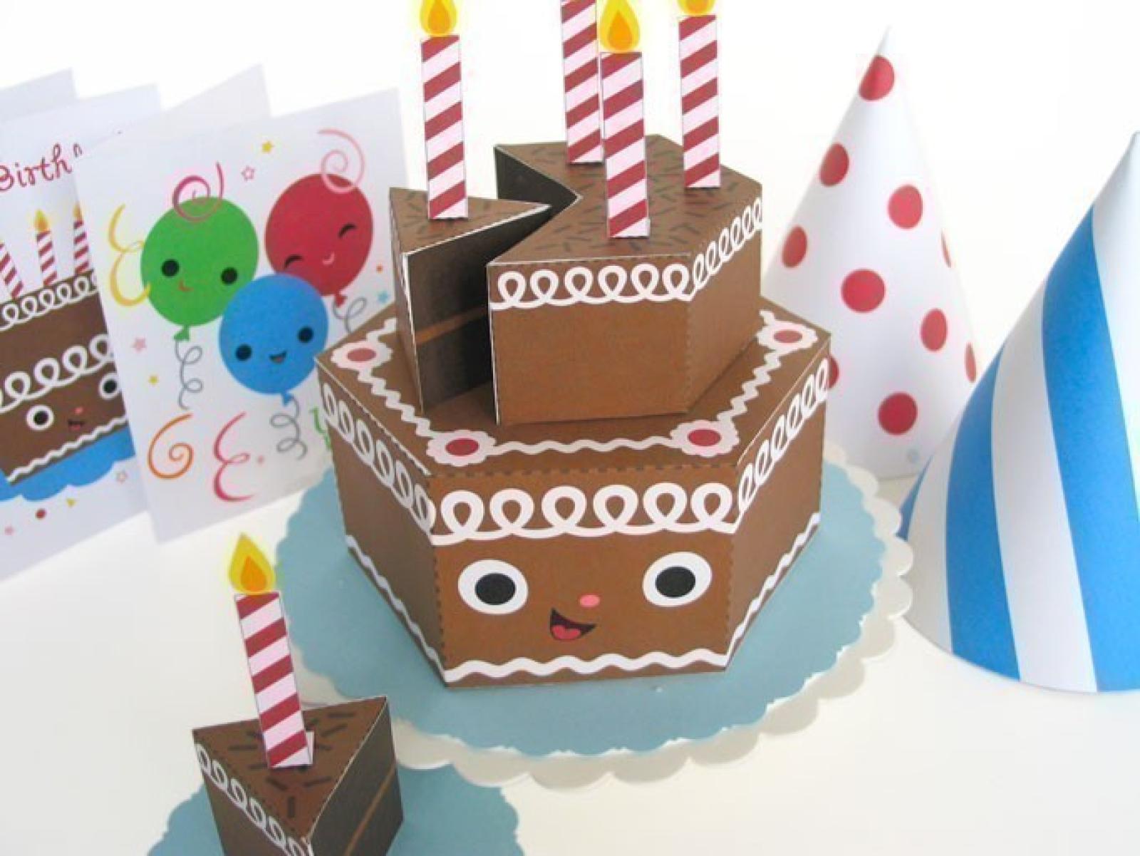 Happy Birthday Chocolate Cake Party Playset Printable Paper Craft