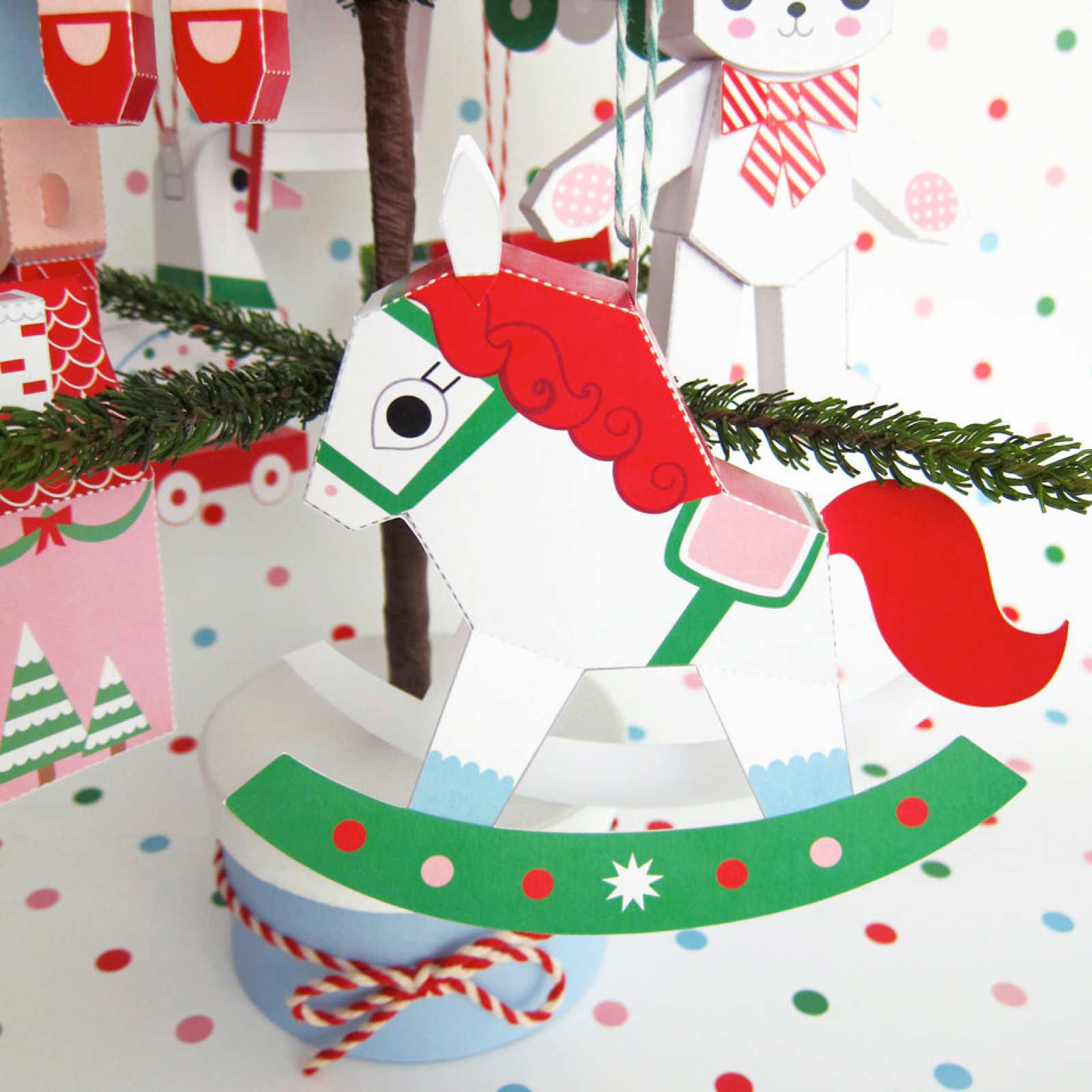 Teddy, Jack in Box, Rocking Horse Ornaments Printable Paper ...