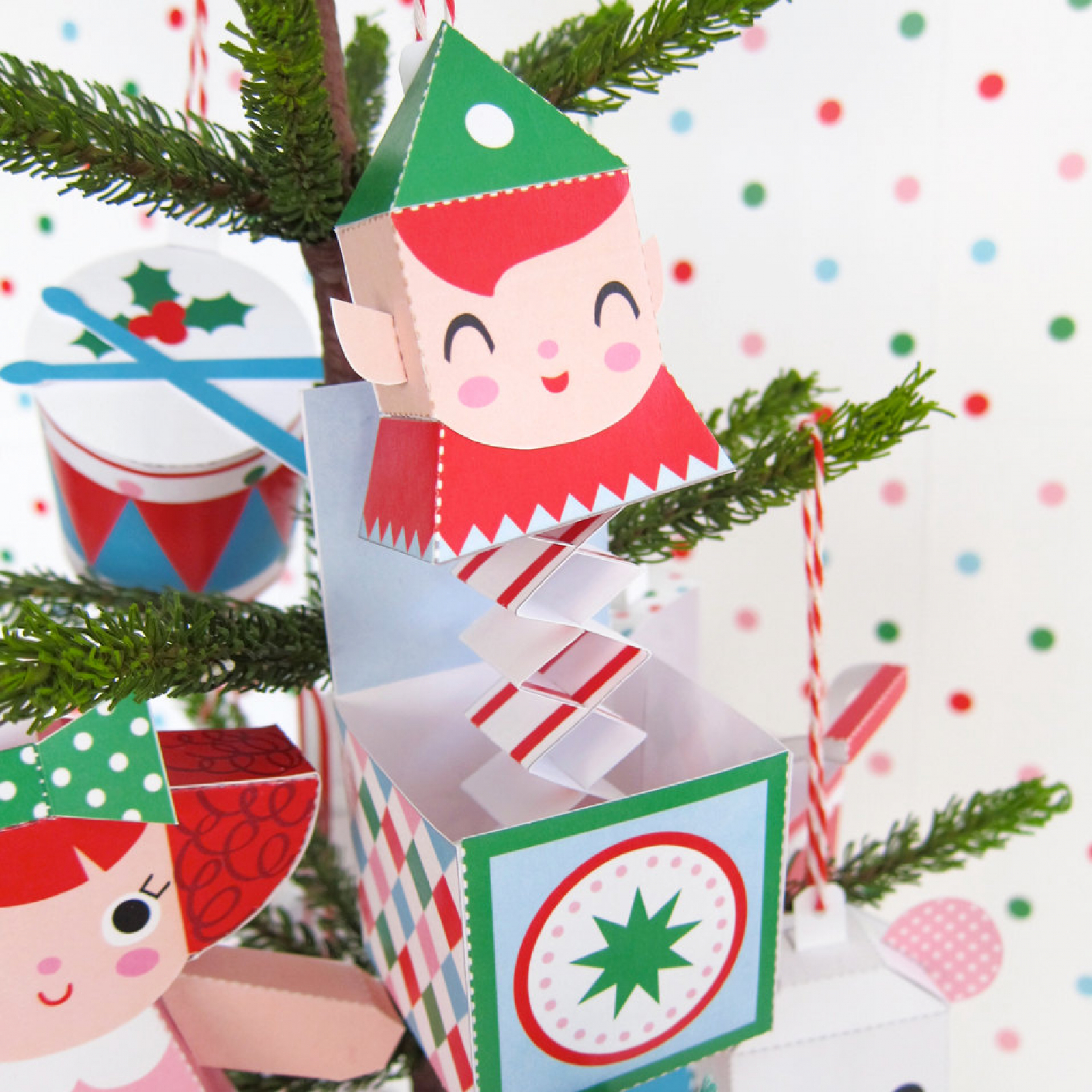 teddy jack in box rocking horse ornaments printable paper christmas crafts - Jack In The Box Open On Christmas