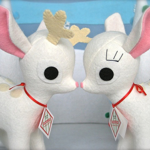 White Reindeer and Fawn