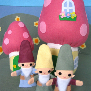 Gnome Finger Puppets and Mushroom Cottage